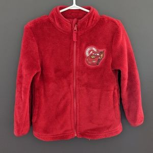Disney Cars red soft & fluffy zip up sweater